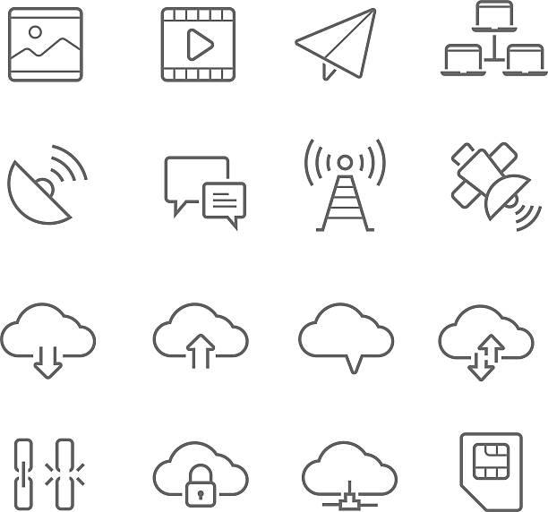 bildbanksillustrationer, clip art samt tecknat material och ikoner med lines icon set - network communication - chain studio