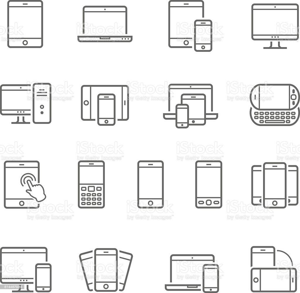 Linee gruppo di icone dispositivi-reattiva - illustrazione arte vettoriale