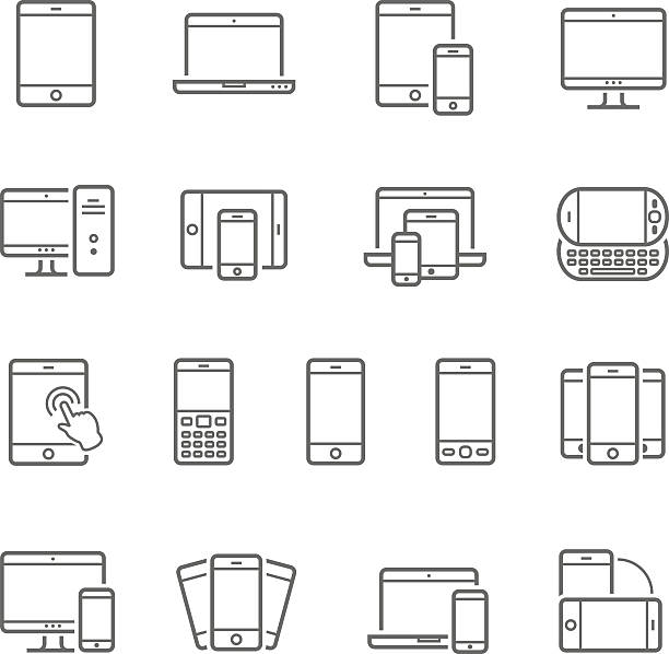 Lines icon set - responsive devices vector art illustration
