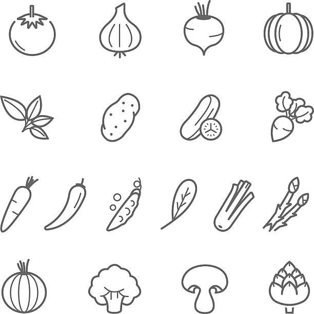 linien symbol-set-gemüse - kartoffeln stock-grafiken, -clipart, -cartoons und -symbole