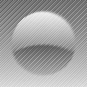 Lines with different width and shape that makes a sphere. Halftone effect. Suitable for logo or other design