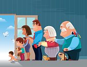 vector illustration of lineup of cheerful family