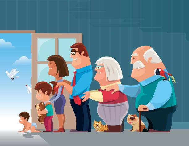 lineup of cheerful family vector art illustration