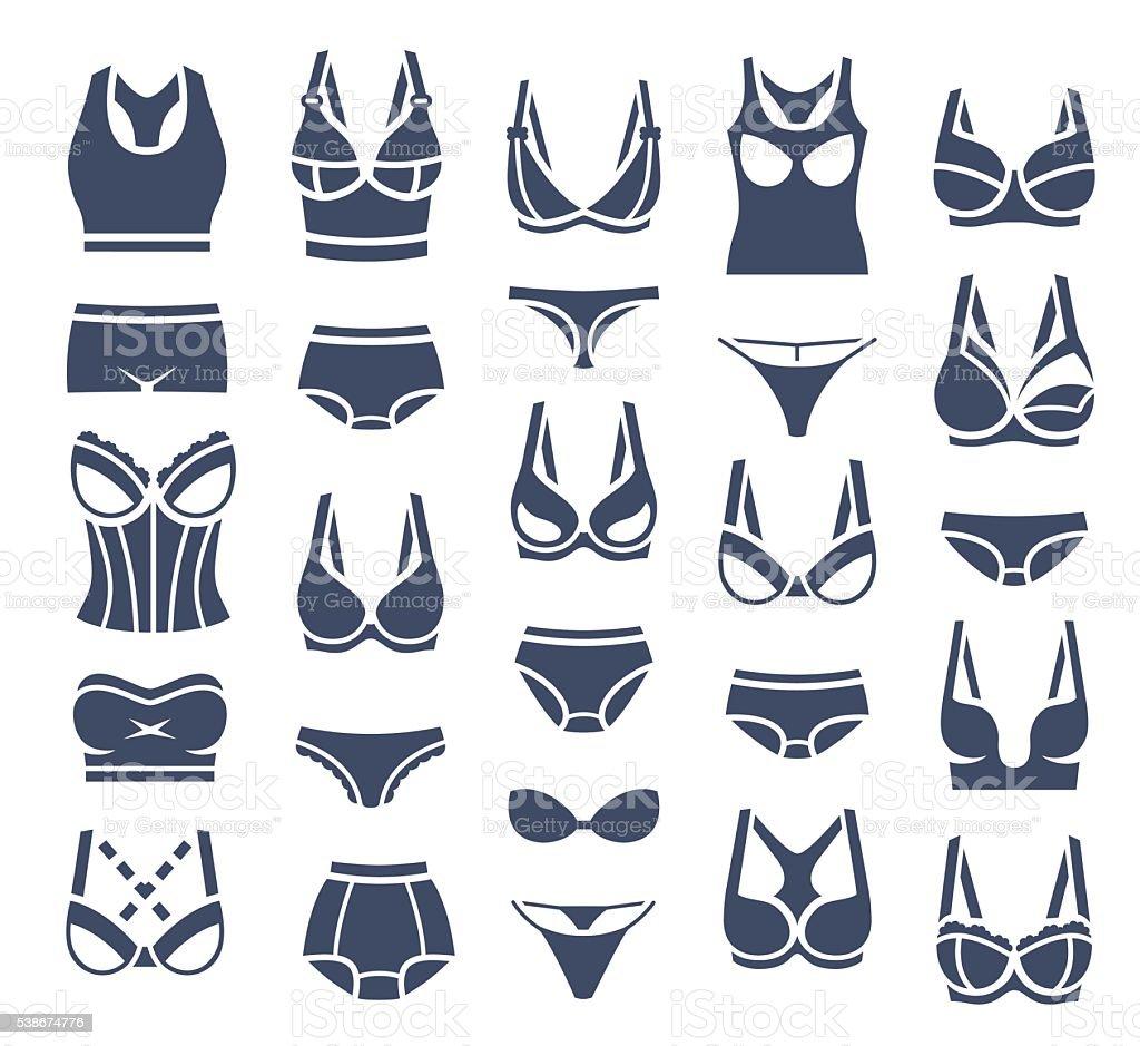 Lingerie garments design vector flat silhouette icons vector art illustration