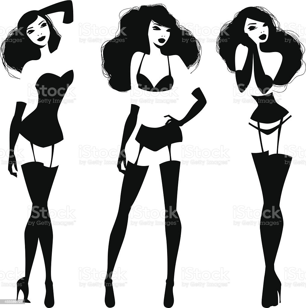 Lingerie Models vector art illustration