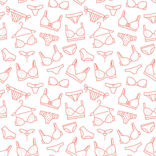 Lingerie seamless pattern with flat line icons of bra types, panties. Woman underwear background, vector illustrations of brassiere, bikini, swimwear. Cute red white wallpaper for clothes store Lingerie seamless pattern with flat line icons of bra types, panties. Woman underwear background, vector illustrations of brassiere, bikini, swimwear. Cute red white wallpaper for clothes store. bra stock illustrations