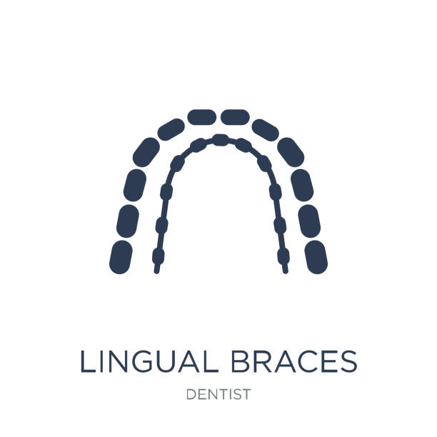 lingual braces icon. trendy flat vector lingual braces icon on white background from dentist collection - orthodontist stock illustrations, clip art, cartoons, & icons
