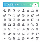 Linguistics Line Icons Set