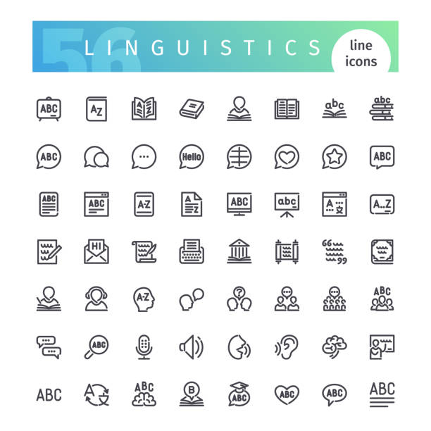 linguistics line icons set - language class stock illustrations