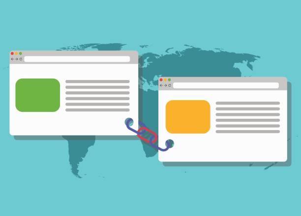 link building blogging illustration connected link vector art illustration