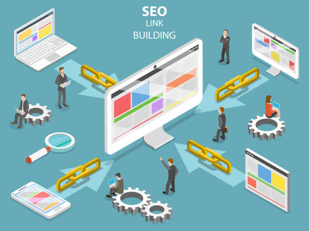 SEO link building flat isometric vector concept. SEO link building flat isometric vector concept. Concept of SEO and digital marketing. hyperlink stock illustrations