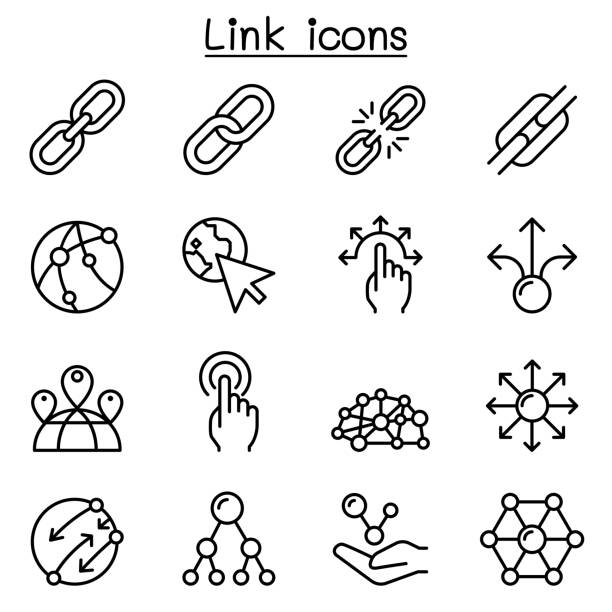 stockillustraties, clipart, cartoons en iconen met pictogram van de verbinding instellen in dunne lijnstijl - schakel