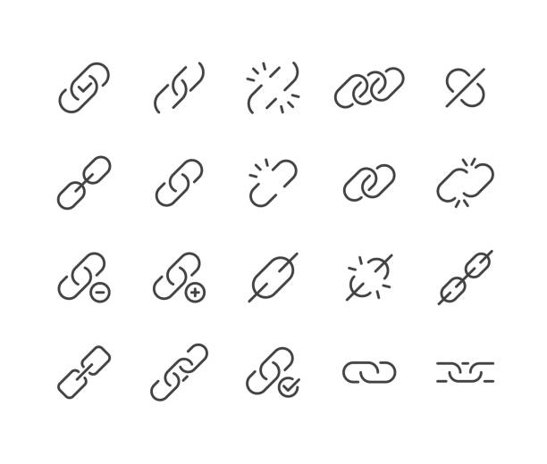 stockillustraties, clipart, cartoons en iconen met link iconen - classic line series - schakel
