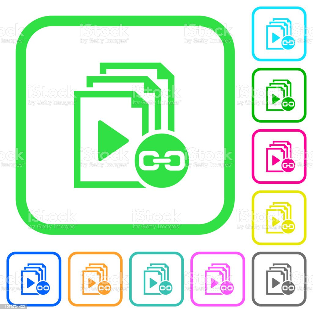 Link playlist vivid colored flat icons vector art illustration
