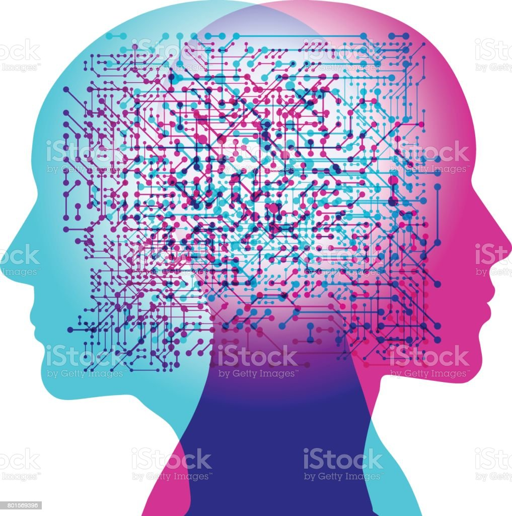 Linked Artificial Intelligence Thoughts vector art illustration