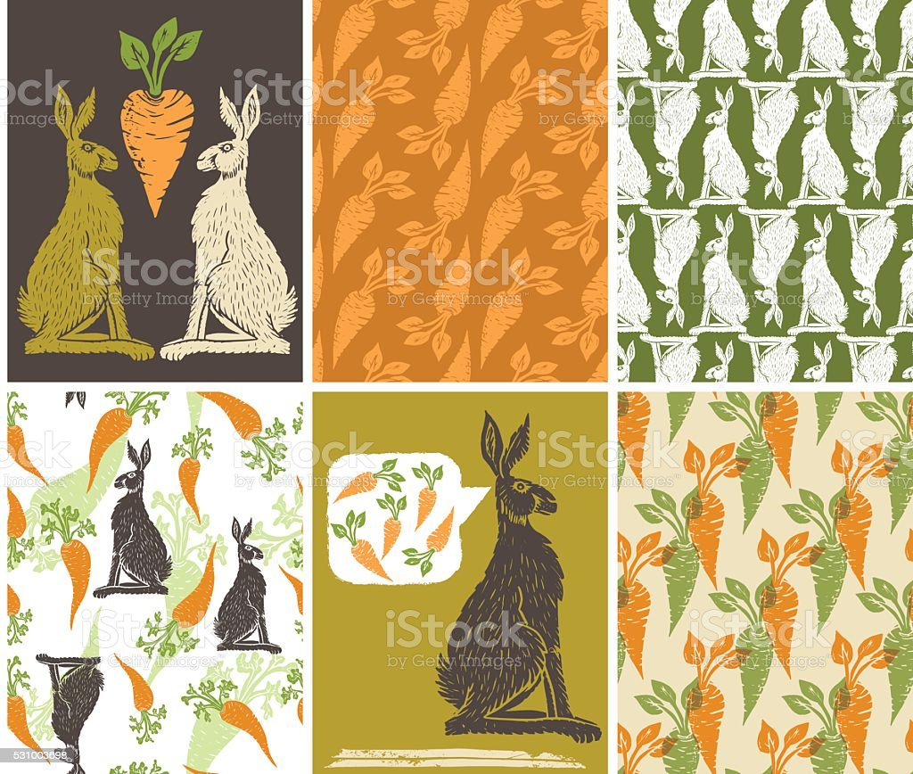 Linoblock Print Of Carrots Rabbits & Carrot vector art illustration