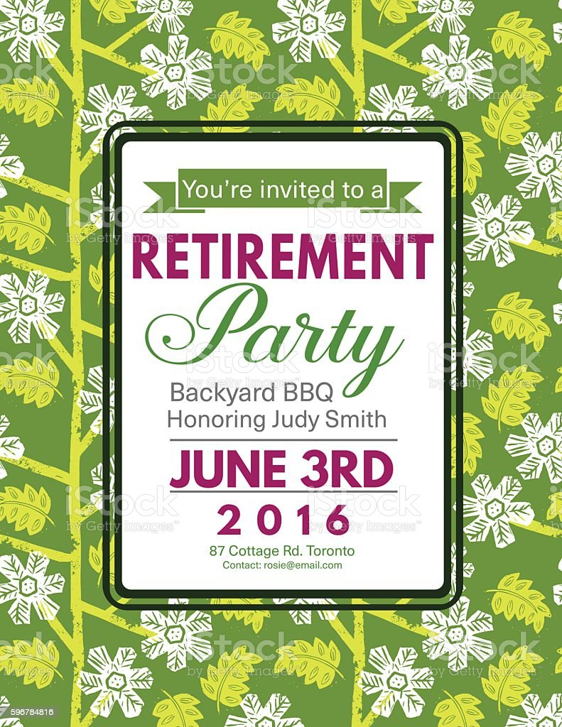 linocut block print pattern retirement party invitation template