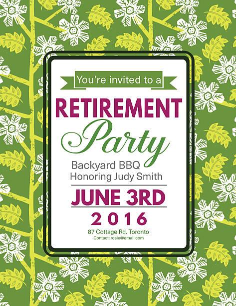 Royalty free retirement party invitation clip art vector images linocut block print pattern retirement party invitation template vector art illustration stopboris Gallery