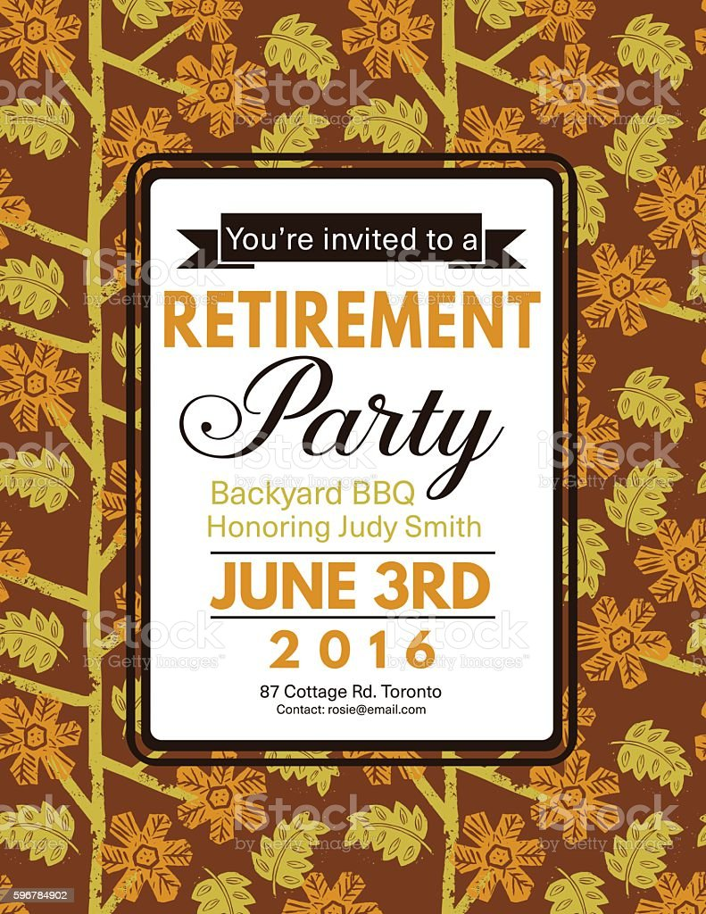 Linocut Block Print Pattern Retirement Party Invitation Template - Retirement party invitations templates