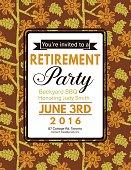 Linocut Block Print Pattern Retirement Party Invitation Template
