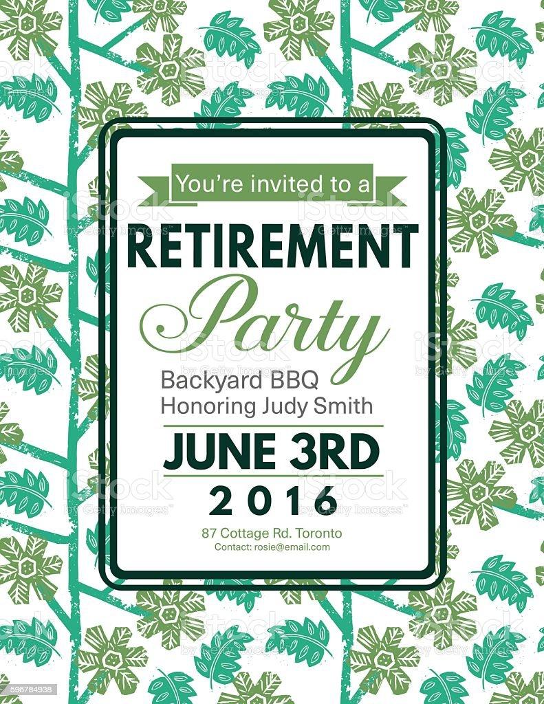 Linocut Block Print Pattern Retirement Party Invitation Template vector art illustration