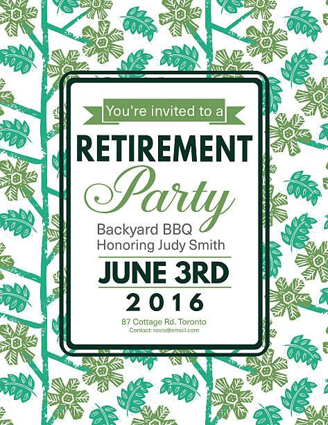 Linocut Block Print Pattern Retirement Party Invitation Template – Vektorgrafik