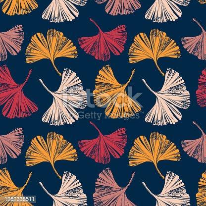 istock Linocut Ginkgo Leaf Retro Seamless Pattern - Vector EPS10 Illustration 1282338511