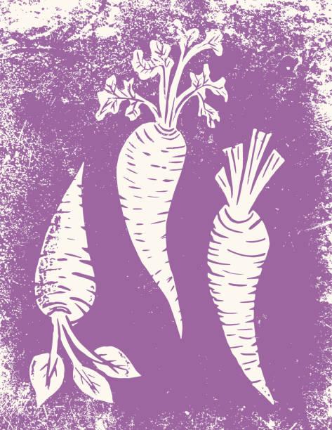 Linocut Of A carrot Garden Hand made linocut of carrots linocut stock illustrations