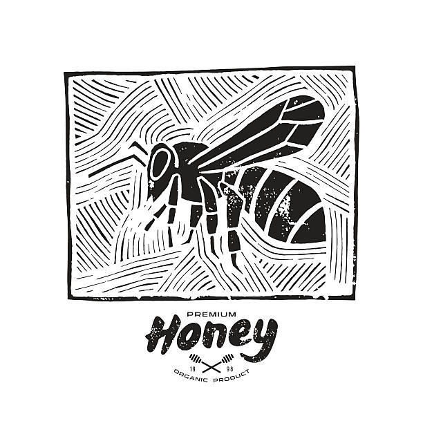 Linocut with a picture of bee and honey label Stock vector linocut with a picture of bee and honey label. Black print on white background linocut stock illustrations
