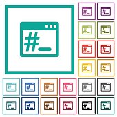 Linux root terminal flat color icons with quadrant frames