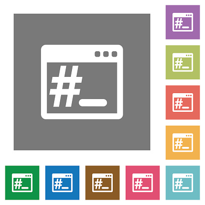 Linux root terminal square flat icons