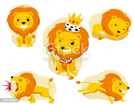 lion action set standing crowned sleeping shouting and running