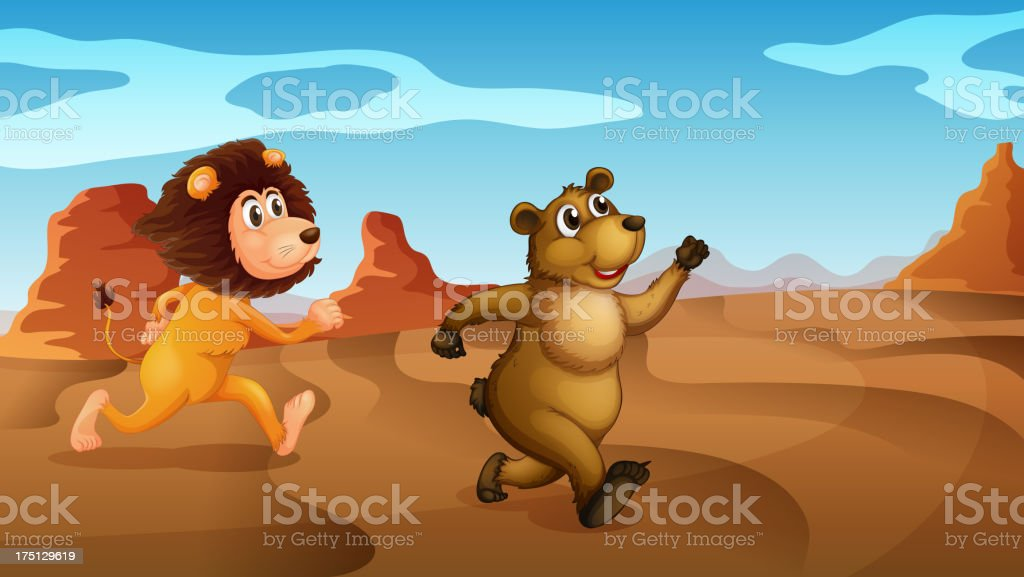 Lion and a bear running royalty-free stock vector art