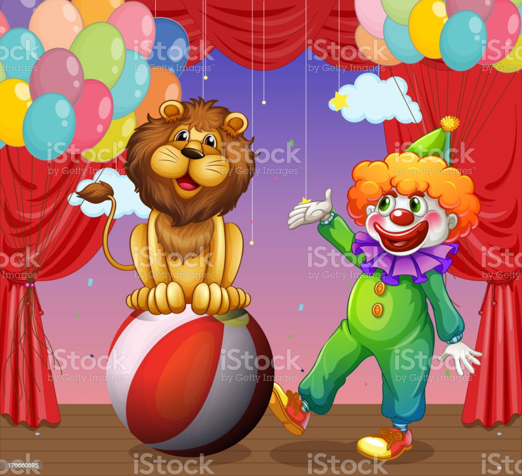 lion and a clown at the circus royalty-free lion and a clown at the circus stock vector art & more images of animal