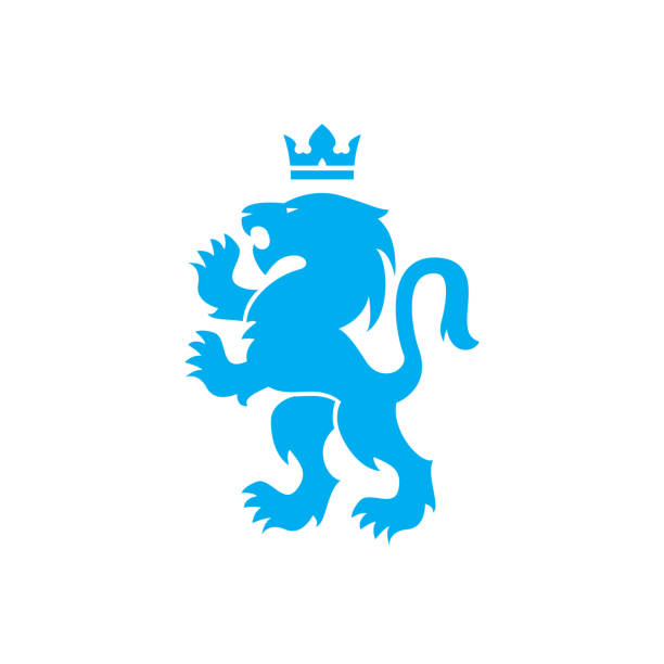 Blue lion logo with crown - photo#39