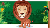 Vector Lion and forest