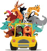 lion and friends driving