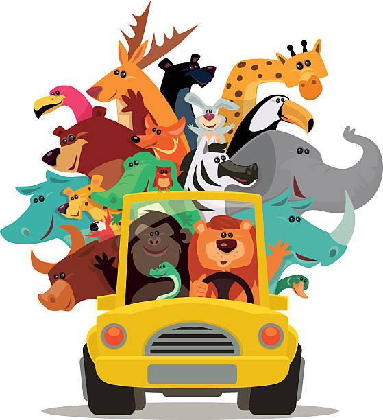 Leão e amigos de carro - ilustração de arte em vetor