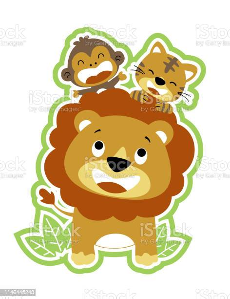 Lion and friends monkey tiger vector cartoon illustration vector id1146445243?b=1&k=6&m=1146445243&s=612x612&h=0fyyih4qwmdz0laj6oe s0wsgzk1u8x0qye57slemwi=