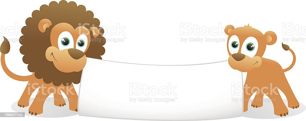Lion and Lioness holding a blank banner royalty-free stock vector art