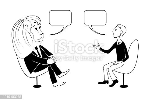 istock Lion and man are talking. Vector black outline image. 1219103255