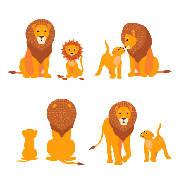 Lion and son family vector illustration. Happy Fathers Day. Cartoon safari postcard vector art illustration