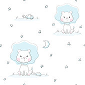 Lion and turtle baby cute seamless pattern. Sweet tiny animals with star and moon. Little night illustration fo