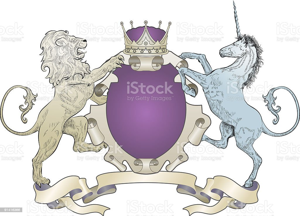 A lion and unicorn coat of arms on a white background royalty-free stock vector art