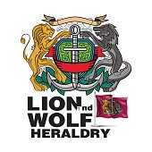 Coat Of Arms, Lion - Feline, Royalty, Vector, Wolf