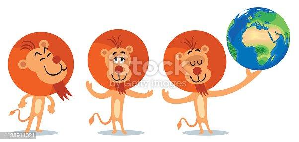 istock Lion and World 1138911021