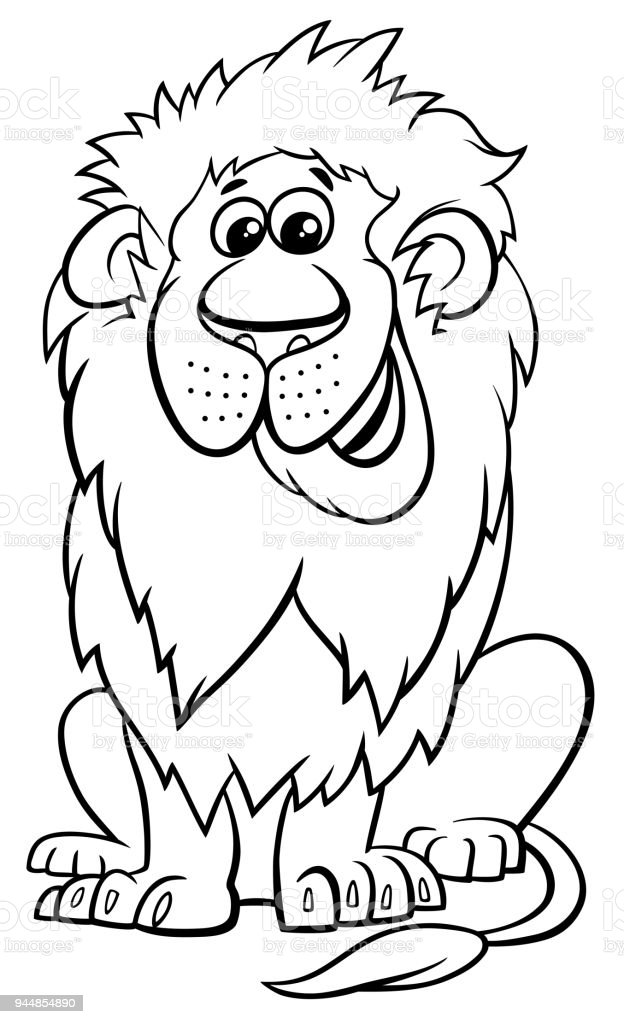 lion animal character cartoon coloring book vector art illustration