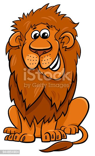 Cartoon Illustration of Lion Wild Cat Animal Character
