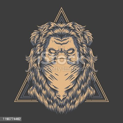 Lion bandana triangle badge vector illustration for your company or brand