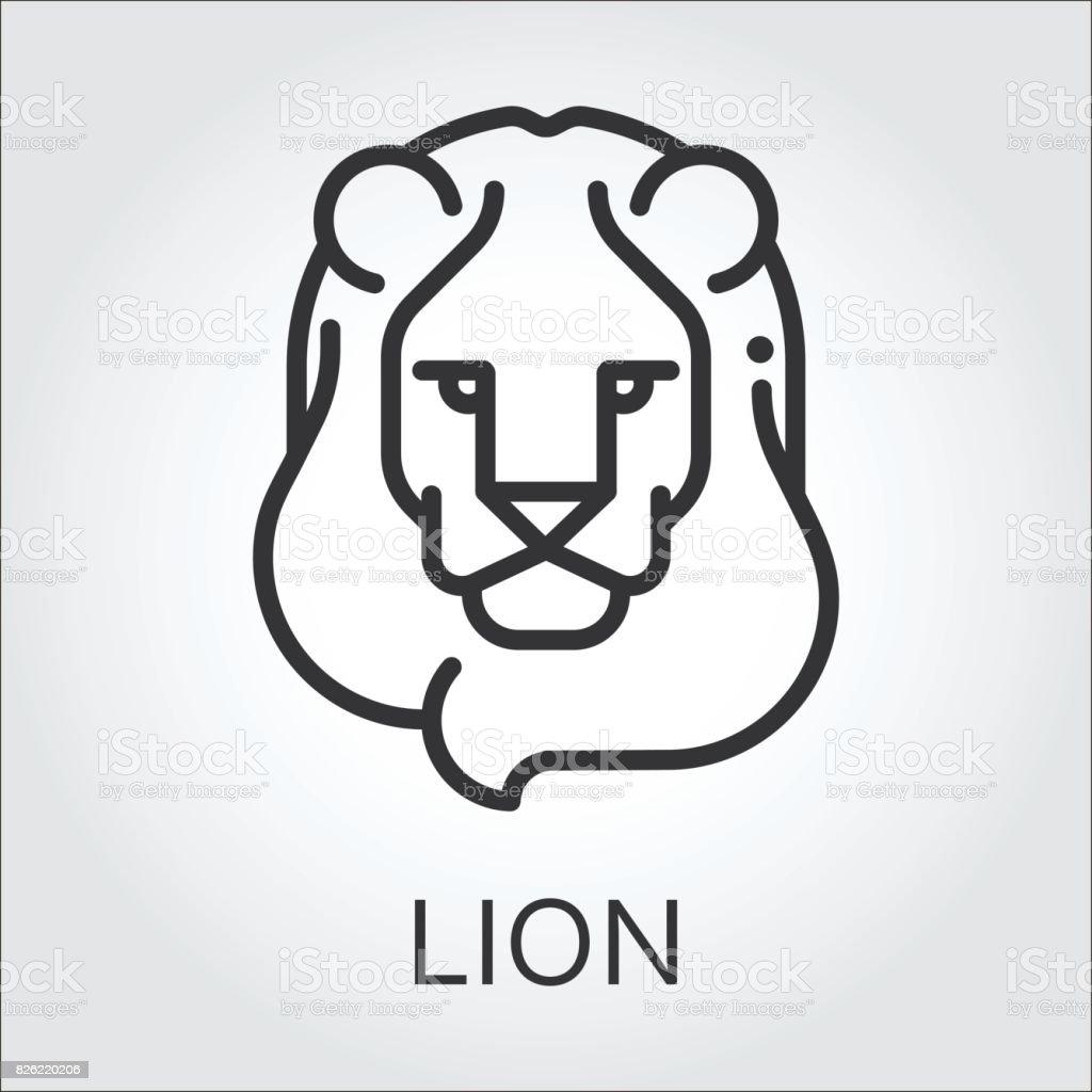 Lion Noire Dessin Au Trait Icône Style Tête Animal Sauvage